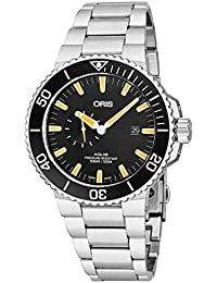 Aquis Small Second Date Mens Stainless Steel Automatic Diver Watch - 45mm Analog Black Face 500M. Oris
