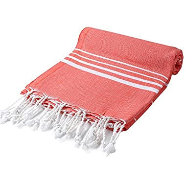 Cacala Pestemal Turkish Bath Towels Striped Bath Beach Sauna Luxury Peshtemal 37x70  Coral
