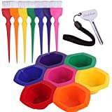 Small Hair Coloring Dye Mixing Tint Bowls and Brush Kit - Set of 7 Different Rainbow Color