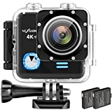 NEXGADGET 4K WIFI Action Cam 16MP 4K Waterproof Sports Camera 170 Degree Ultra Wide-Angle Len with SONY Sensor, 2 Pcs Rechargeable Batteries