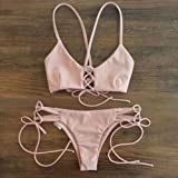 Fashionzone Bandage Bikini Beachwear Swimsuit Swimwear Women Cut out Vintage Pin up Two Piece