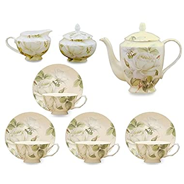 Gracie Bone China 11-Piece Tea Set, White Green Iceberg