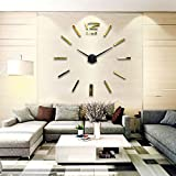 FANMURAN Reminded Art Mirror Wall Clock 3D Mirror Wall Clock