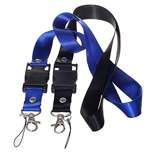 XinwaY Hand Wrist Strap Lanyard for USB Flash Drives, Cell Phone, Keys, Keychains, Mp4, Mp3 10 Pack (Blue Black)