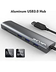 USB 3.0 Hub Wavlink 3 Port USB Aluminum Hub with SD/TF and Micro SD Card Reader for MacBook Pro 2015 MacBook Air Windows Laptops …