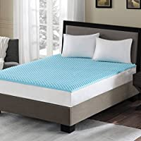 Sleep Philosophy Gel Memory Foam Mattress Protector Cooling Bed Cover Queen Blue