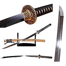 Lyuesword Japanese Handmade Katana Sword Clay Tempered T-10 High Carbon Steel Katana Sword