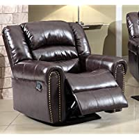 Meridian Furniture Nailhead Rocker Reclining Chair, Brown