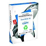Hammermill Printer Paper, Great White 30% Recycled Copy Paper, 20lb, 8.5 x 11, 3 Hole, 92 Bright - 1 Pack / 500 Sheets (086702R)