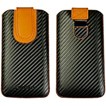 Emartbuy Dark Grey/Orange Premium PU Leather Carbon Fibre Finish Slide in Pouch Case Cover Sleeve Holder (Size LM4) With Pull Tab Mechanism Suitable for Smartphones/Cellphones Listed Below