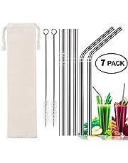 Pajitas Acero Inoxidable Reutilizables Pajas de Metal Beber Conjunto de 5 con 2 Cepillos de Limpieza/5mm Metal Pajitas Dobladas y Rectas para 20oz 30oz Tumbler Tazas Stainless Steel Straws (7)