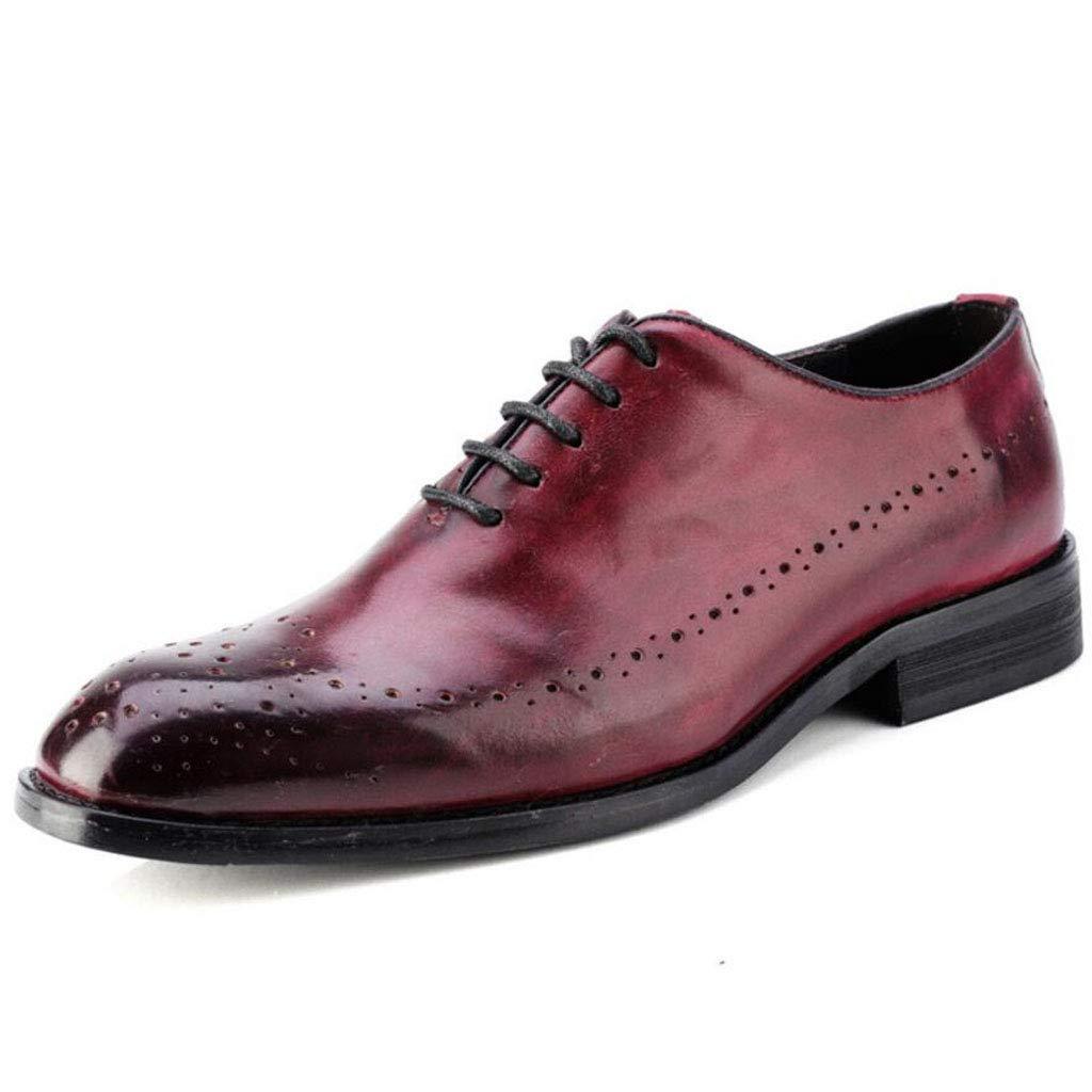 Xxoschuhe Herrenschuhe Leder Retro England Spitz Herren Hochzeitsschuhe Brock Geschnitzte Herrenschuhe Leder niedrig zu helfen große Größe Business Schuhe