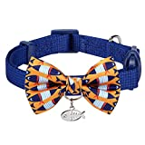 """Blueberry Pet Pack of 1 Timeless Navy Blue Breakaway Adjustable Chic Fish Print Handmade Bow Tie Cat Collar with European Crystal Bead on Fish Charm, Neck 9""""-13"""""""