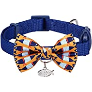 """Blueberry Pet 18 Designs Timeless Navy Blue Breakaway Adjustable Chic Fish Print Handmade Bow Tie Cat Collar with European Crystal Bead on Fish Charm, Neck 9""""-13"""", Bow 3"""" 2"""""""