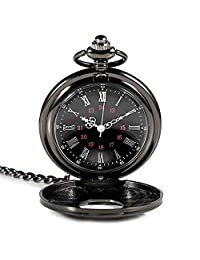 Lveal Black Pocket Watch Retro Steampunk Pattern Quartz Roman Numerals Pocket Watch for Xmas Birthday Fathers Day Gift (A)