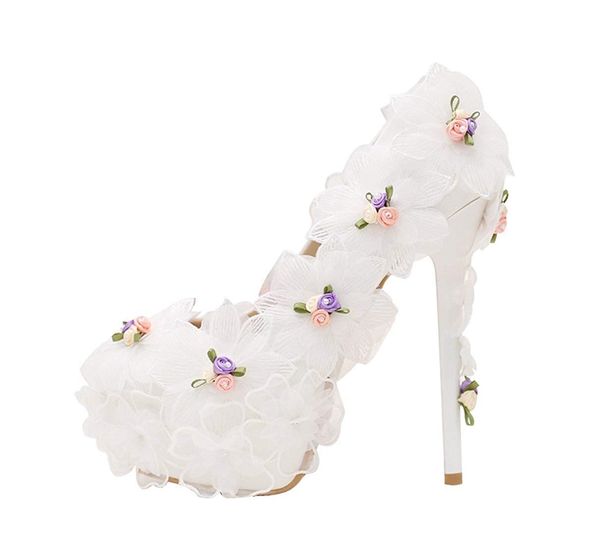 Qiusa Damen Versteckte Hohe Plattform Stiletto Heels Weiße Braut Hochzeit Pumps mit Blaumen UK 2 (Farbe   -, Größe   -)