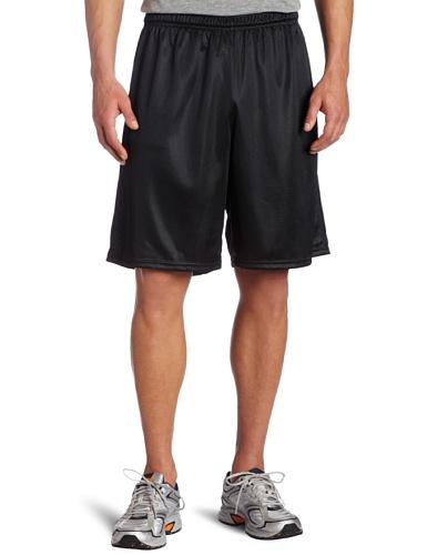 Soffe Men's Long Polyester Mini-Mesh Short Black Medium