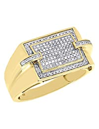 10K Yellow Gold Plating Mens Round CZ Simulated Diamond Pave Pinky Ring Square Top 0.33 Ct