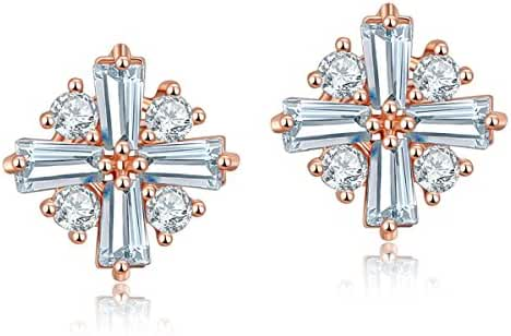 CARSINEL Square Stud Earrings for Women Girls Rose Gold Plated with AA Cubic Zirconia