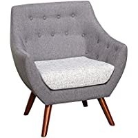 Target Marketing Systems Elijah Collection Ultra Modern Fabric Upholstered Living Room Chair With Button Tufting and Splayed Wooden Legs, Gray