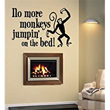 filedy room wall stickers quotes The words No More Monkeys Jumpin' on the Bed!