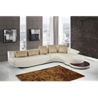 Global Furniture UFM208 - SECTIONAL + ET Blanche Sectional and End Table, Milky/Ivory