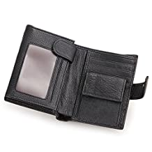 BAIGIO RFID Blocking Leather Wallet with Card Case & Coin Pocket for Men, Black