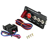 KKmoon 12V Ignition Switch Panel, 3 Toggle Switch & 1 Red Car Engine Start Push Button Panel with Indicator Light for DIY Racing Car Modification