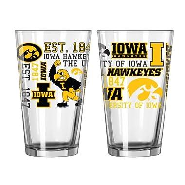 NCAA Iowa Hawkeyes Spirit Pint Glass, 16-ounce, 2-Pack
