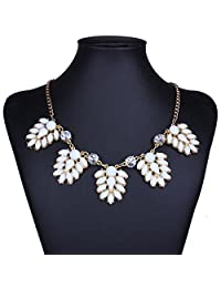 Qiyun White Acrylic Bead Statement Collar Necklace Collar Acrylique Blanc Collier