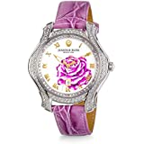 """JEANNIE ROSE  """"A Dozen Roses"""" Watches   40MM Women's Analog Watch   Lavender on Whiteface A01"""