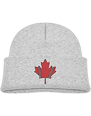 Fashion Canadian Maple Leaf Printed Teething Baby Winter Hat Beanie