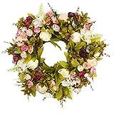 "Emlyn Door Wreath Silk Rose Heads Pink Flower Wreath 15.7"" Best Seller - Handmade Wreath for Outdoor Display in Fall, Winter, Spring, and Summer …"
