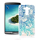 OuDu Silicone Case for LG G3 Soft TPU Rubber Cover Flexible Slim Case Smooth Lightweight Skin Ultra Thin Shell Creative Design Cover - Blue Lotus