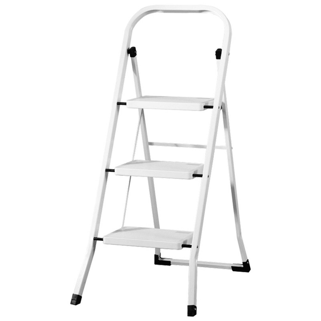 Folding ladder stool ERRU Dual-use Indoor Ladders Stool 3 Step Foldable Thicker Iron Tube Herringbone Ladder Pedal Household Moveable Garden & Kitchen Tool Stepladder Stools,46  71  104cm