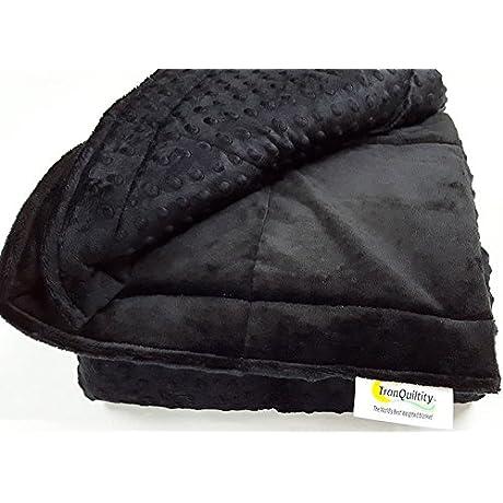 Ultra Soft Black Minky Weighted Sensory Blanket 16lb 48x70