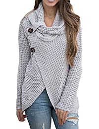Women Knit Cowl Neck Buttoned Wrap Loose Long Pullover Sweater Jumper Tops