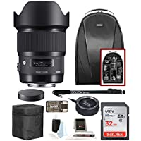 Sigma Art 20mm f/1.4 Lens for Nikon w/ Compact Sling Backpack & 32 GB SD Card Bundle