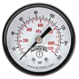 "Winters PEM Series Steel Dual Scale Economy Pressure Gauge, 0-160 psi/kpa, 2"" Dial Display, +/-3-2-3% Accuracy, 1/8"" NPT Center Back Mount"