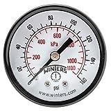 """Winters PEM Series Steel Dual Scale Economy Pressure Gauge, 0-160 psi/kpa, 2"""" Dial Display, -3-2-3% Accuracy, 1/4"""" NPT Center Back Mount"""