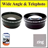 49mm 2X Telephoto Lens + 49mm 0.45x Wide Angle Lens with marco for panasonic HC-X900mk HC-X900 HC-X920K Camcorder + MicroFiber Cleaning Cloth + LCD Screen Protectors