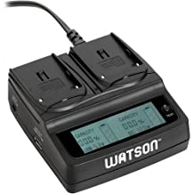 Watson Duo LCD Charger for L & M Series Batteries - Sony NP-F550, NP-F570, NP-F730H, NP-F750, NP-F770, NP-F930, NP-F950, NP-F960, NP-F970, NP-FM30, NP-FM50, NP-FM500H, NP-FM55H, NP-FM70, NP-FM90, NP-FM91, NP-QM71, NP-QM71D, NP-QM91, and NP-QM91D type
