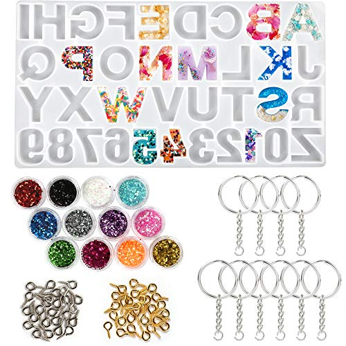 LotFancy Alphabet Molds for Resin Casting, 73pcs Keychain Epoxy Molds and Tools Set, Backwards Letter Number Silicone Mold, DIY Craft Pendant Making, with Glitter Sequins, Screw Eye Pins, Key Rings