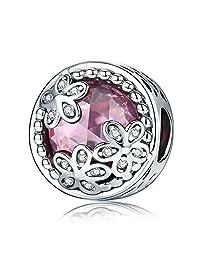 Everbling Daisy Flower Pink CZ 925 Sterling Silver Bead Fits Pandora Charm Bracelet
