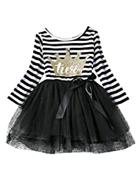 Baby Girls Striped 1st/2nd/3rd Birthday Long Sleeve Princess Cake Smash Dress