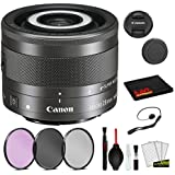 Canon EF-M 28mm f/3.5 Macro is STM Lens (1362C002) Lens with Bundle Package Deal Kit Includes 3pc Filter Kit (UV, CPL, FLD) + Deluxe Cleaning Kit + More