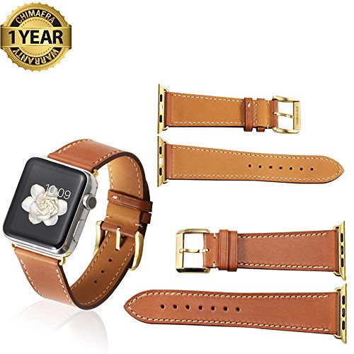 Apple Watch Band 42mm 38mm Genuine Calf Leather fit iWatch  Sport  Edition Series 1 Series 2 Super Soft Strap Classic Pin Buckle for Women and Men
