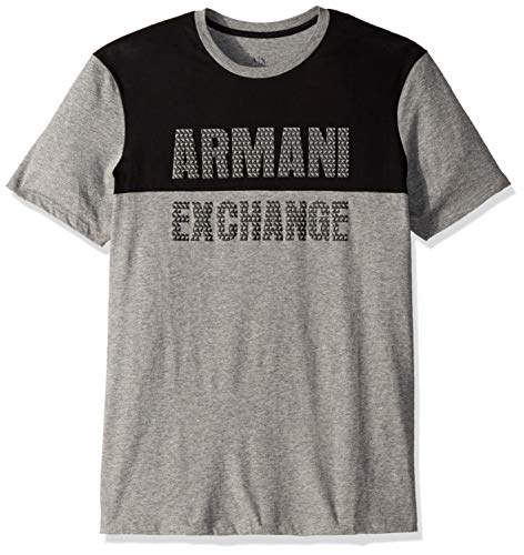 A|X Armani Exchange Playera con gráfico Inspirada en Baloncesto para Hombre, Black Heather Grey/Black, Large