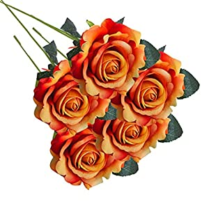 Inverlee 5 Pcs Artificial Flowers Silk Rose Fake Flowers Wedding Bridal Bouquet DIY Home Garden Decor (F) 40