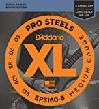 D\'Addario EPS160-5 5-String ProSteels Bass Guitar Strings, Medium, 50-135, Long Scale